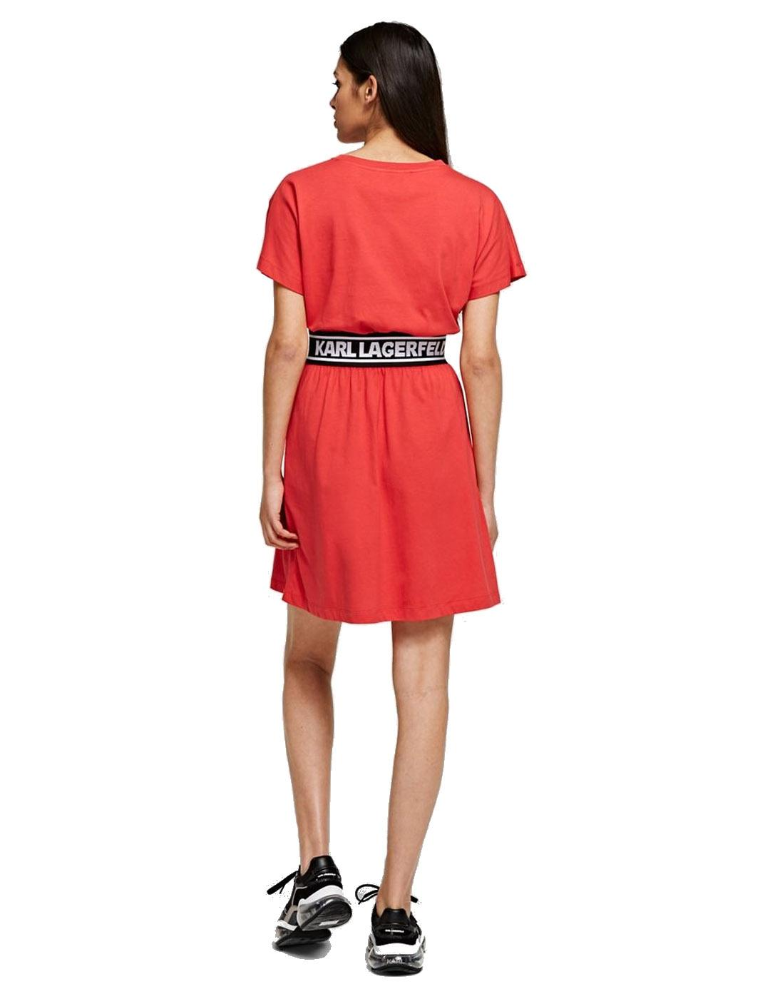 Vestido Karl Lagerfeld rojo Logo Tape Dress