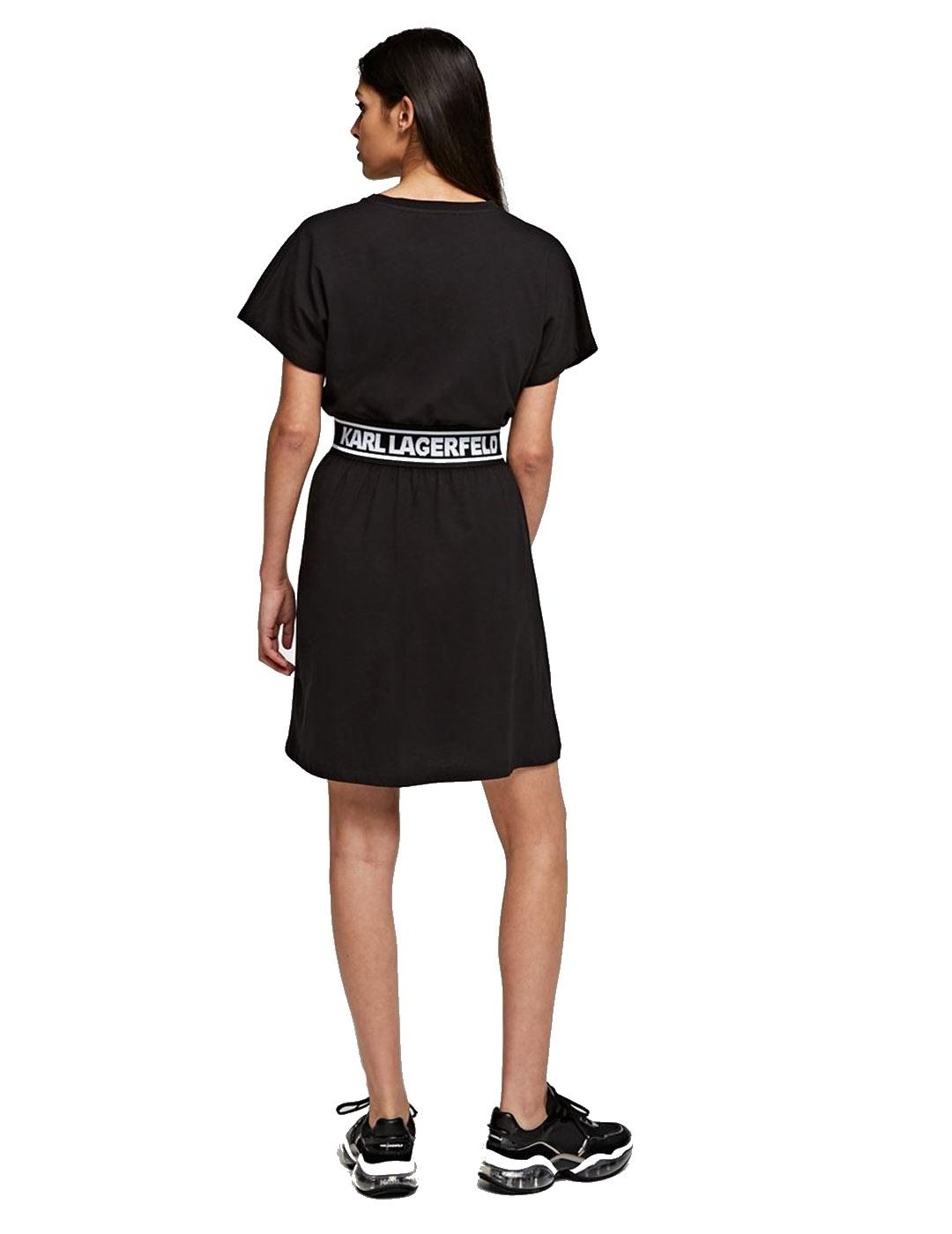 Camiseta Karl Lagerfeld negra Logo Tape Dress