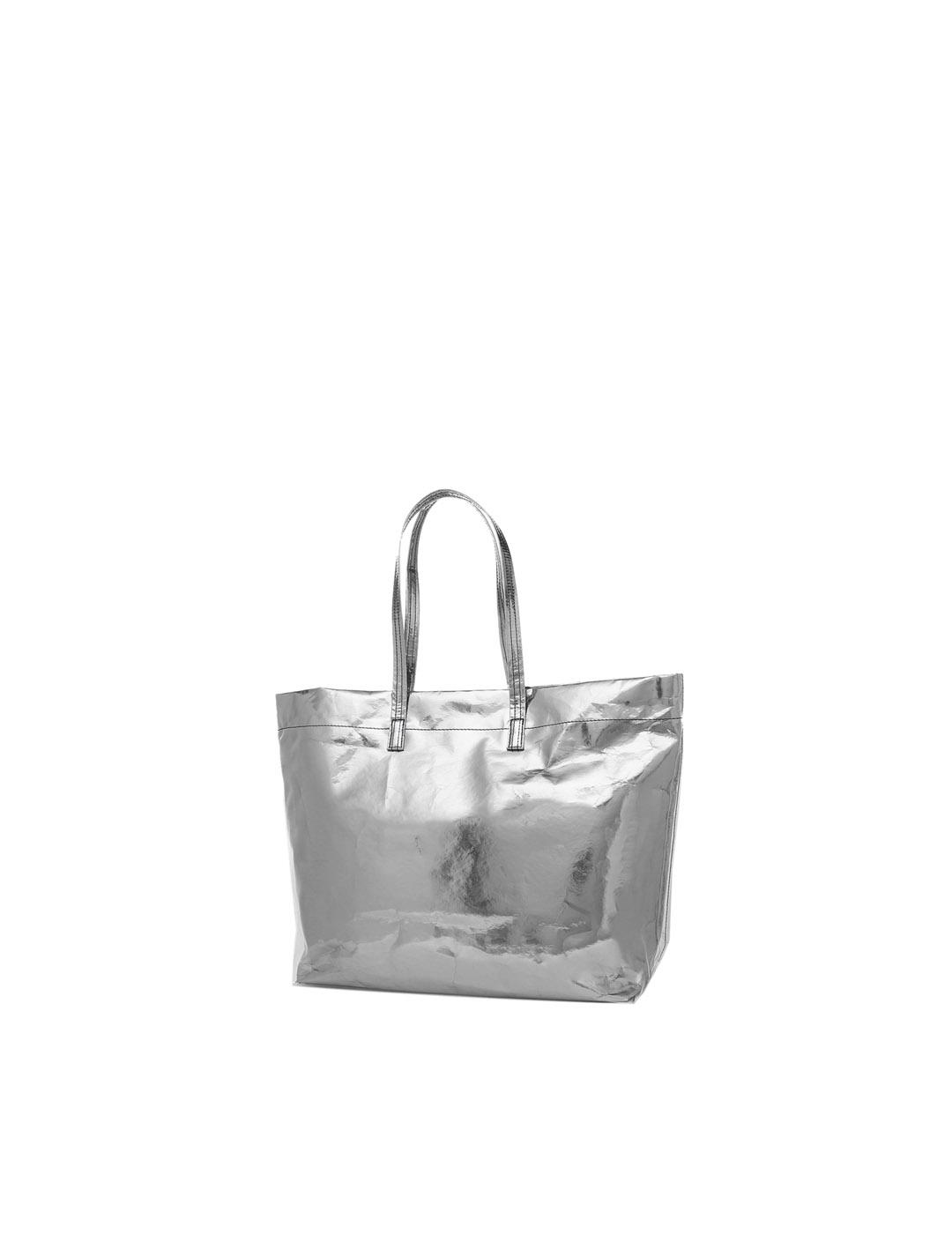 Bolso Marc Jacobs plateado The foil tote