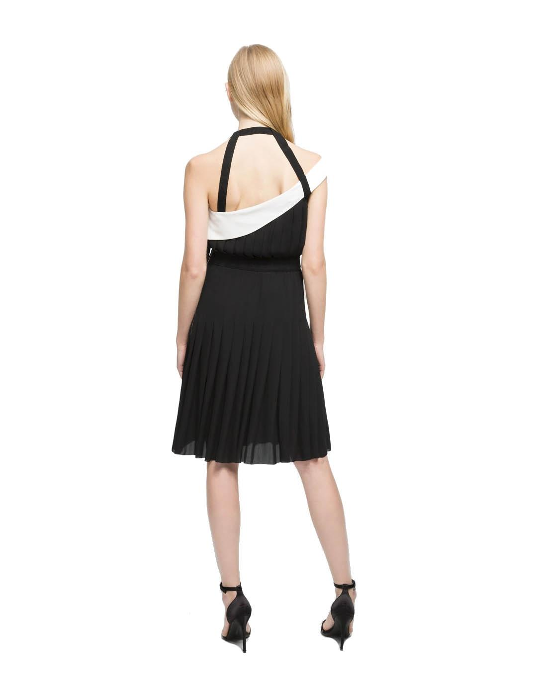 Vestido Karl Lagerfeld negro Pleated w/strap and belt