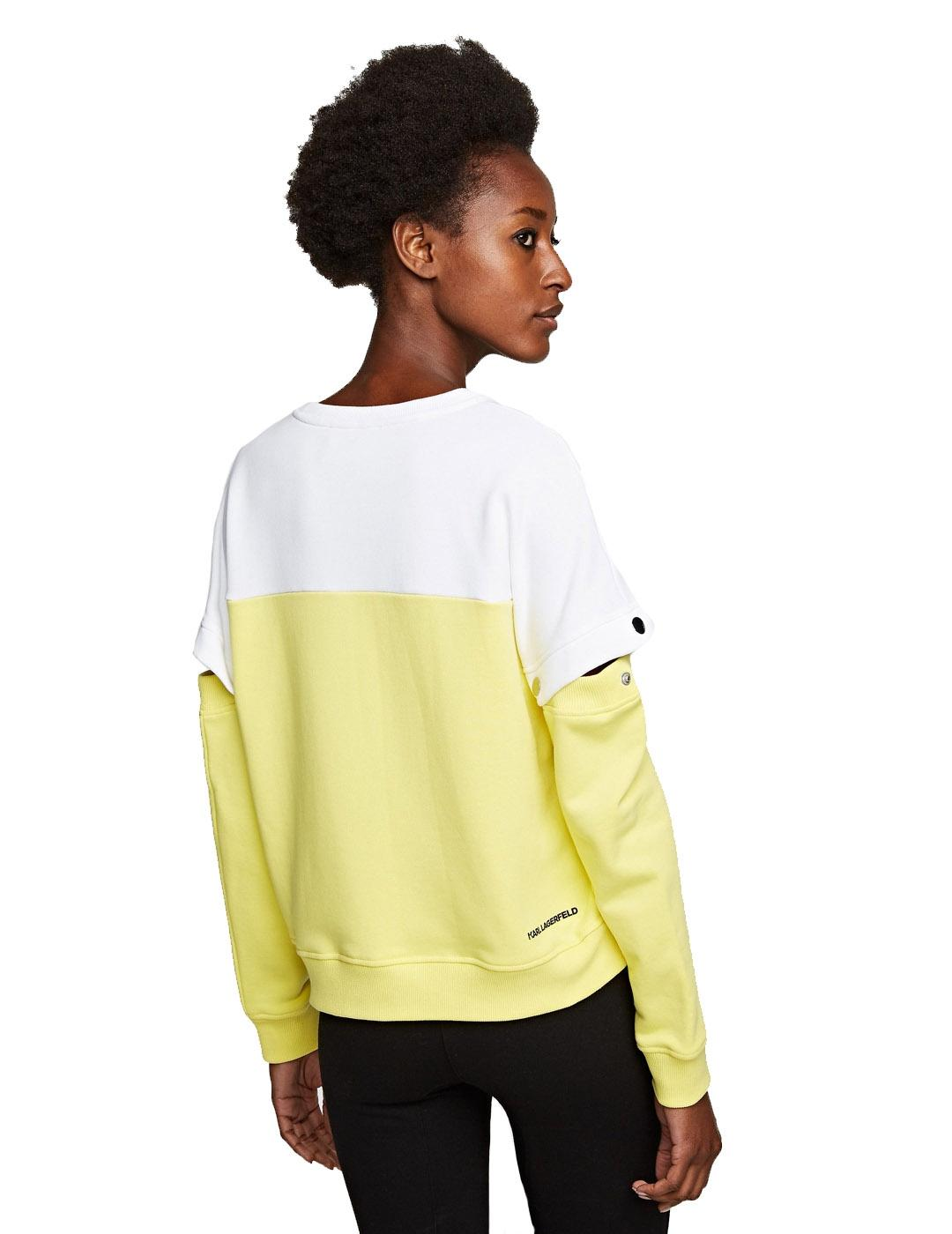 Sudadera Karl Lagerfeld amarilla Colorblock Cut Out Sleeve