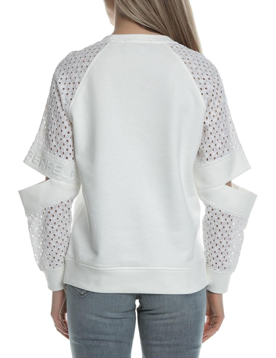Sudadera Karl Lagerfeld blanca Cut Out Lace Sleeved Top