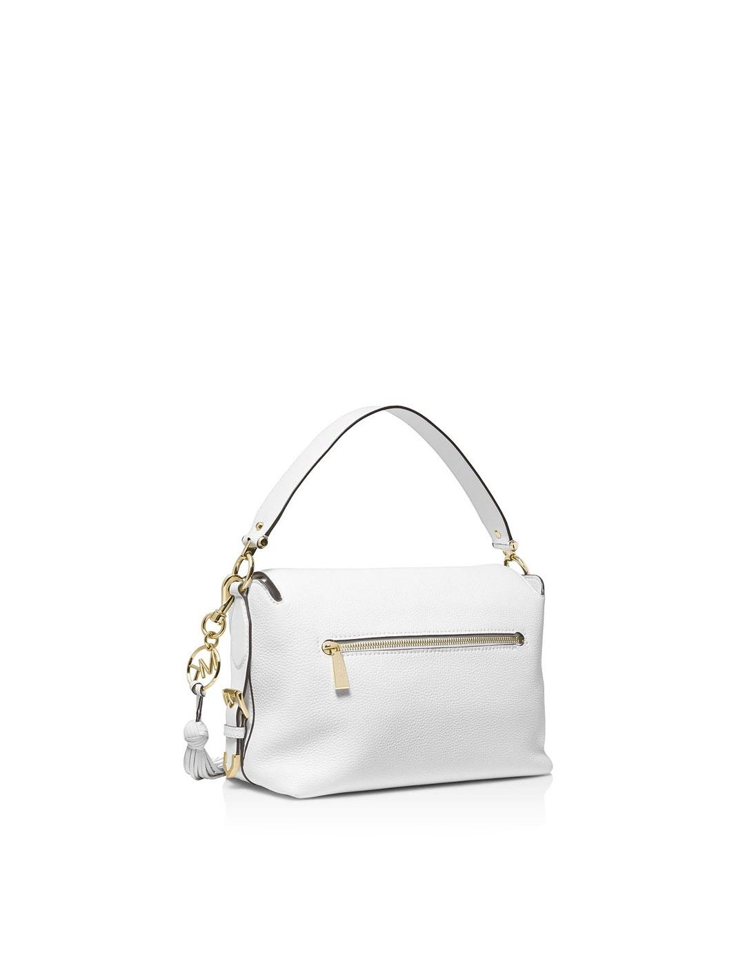 Bolso Michael Kors blanco Brooke Medium Leather Satchel