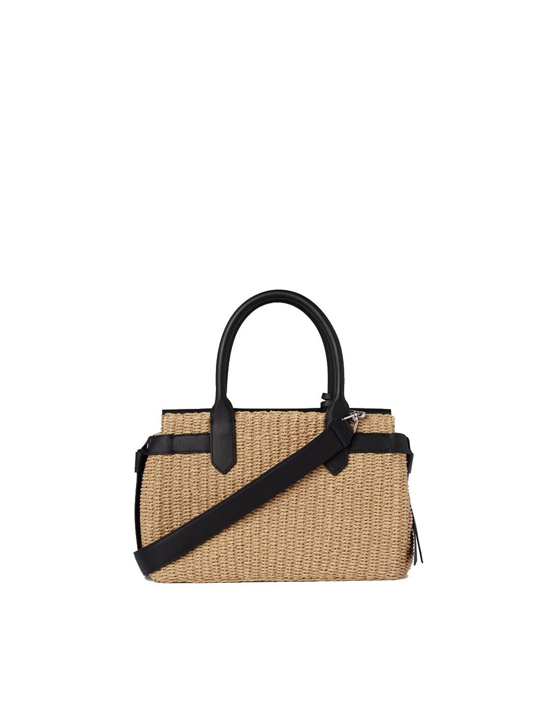 Bolso Karl Lagerfeld negro K/Ikon Raffia Medium Top Handle