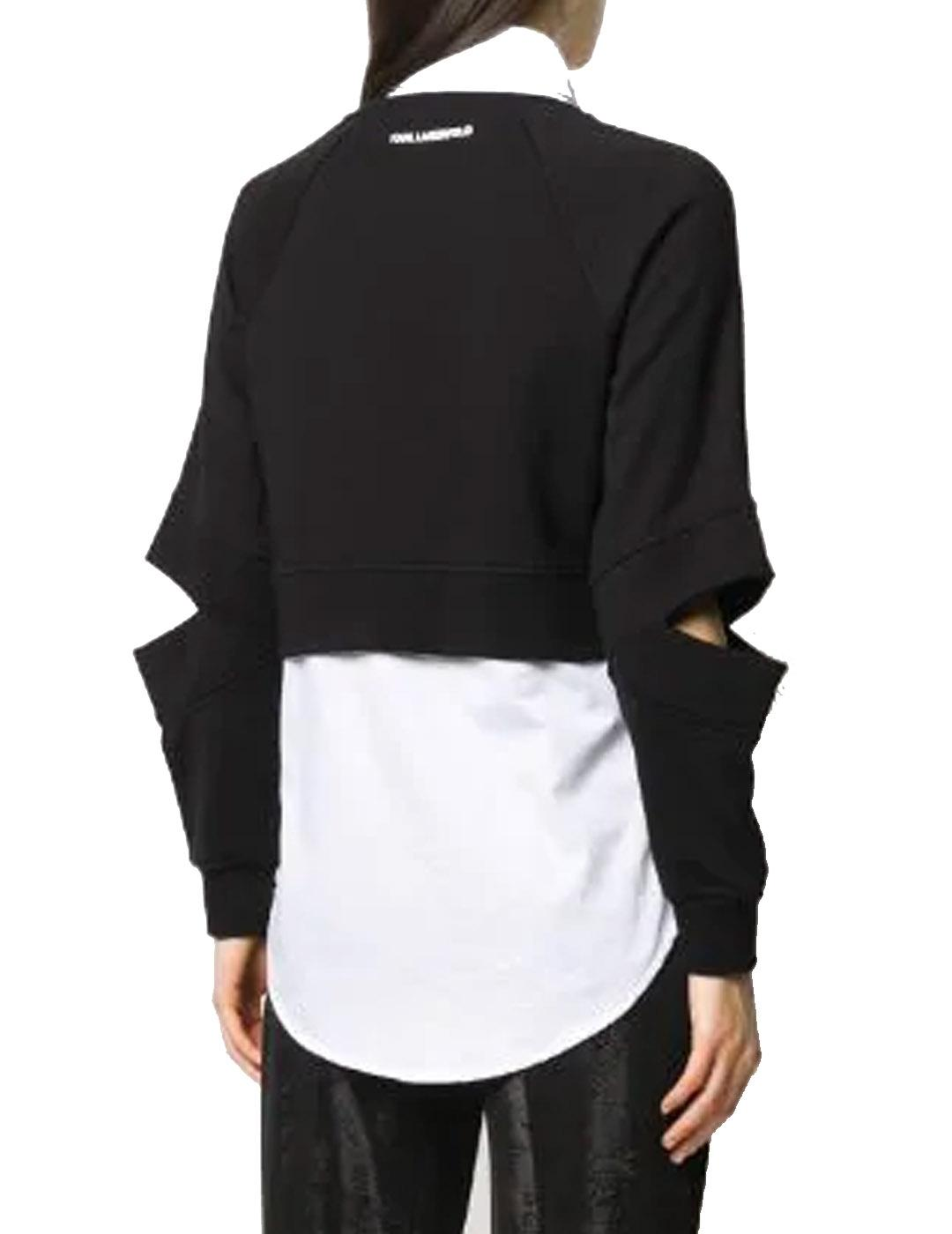 Sudadera Karl Lagerfeld negra Double Layer Fabric Mix