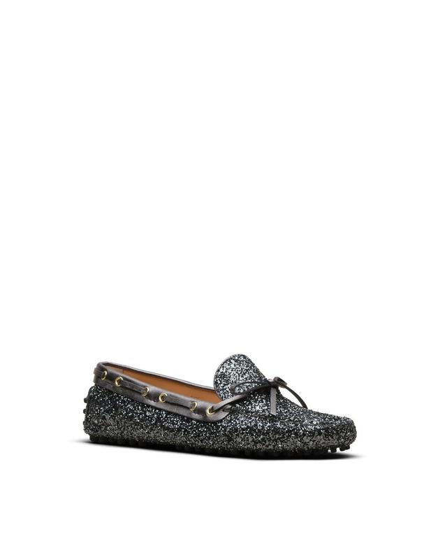 Zapatos Car Shoe gris planos Glitter Driving Shoe